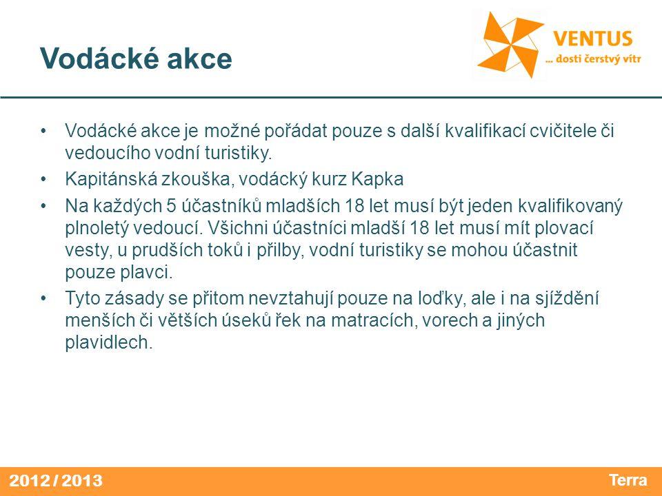 2012 / 2013 Vodácké akce Vodácké akce je možné pořádat pouze s další kvalifikací cvičitele či vedoucího vodní turistiky.