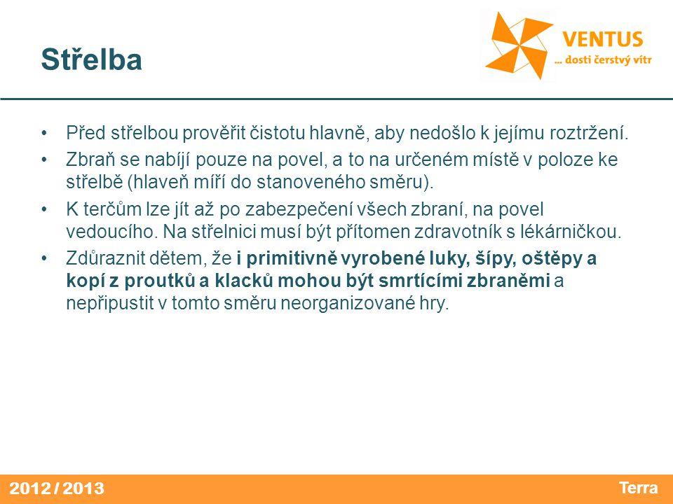 2012 / 2013 Střelba Před střelbou prověřit čistotu hlavně, aby nedošlo k jejímu roztržení.