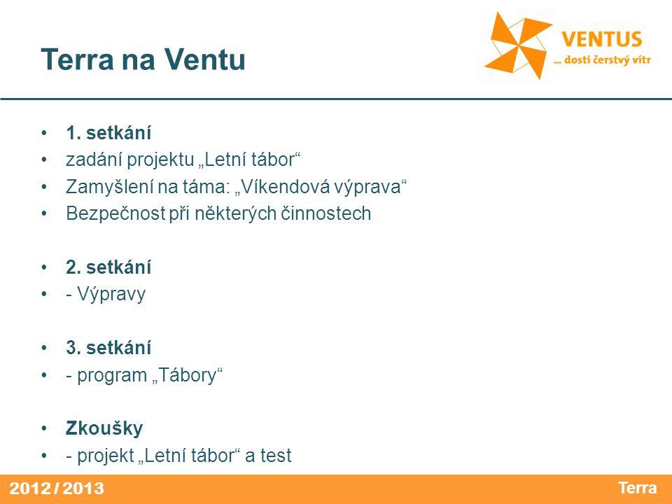 """2012 / 2013 Terra na Ventu 1. setkání zadání projektu """"Letní tábor"""" Zamyšlení na táma: """"Víkendová výprava"""" Bezpečnost při některých činnostech 2. setk"""