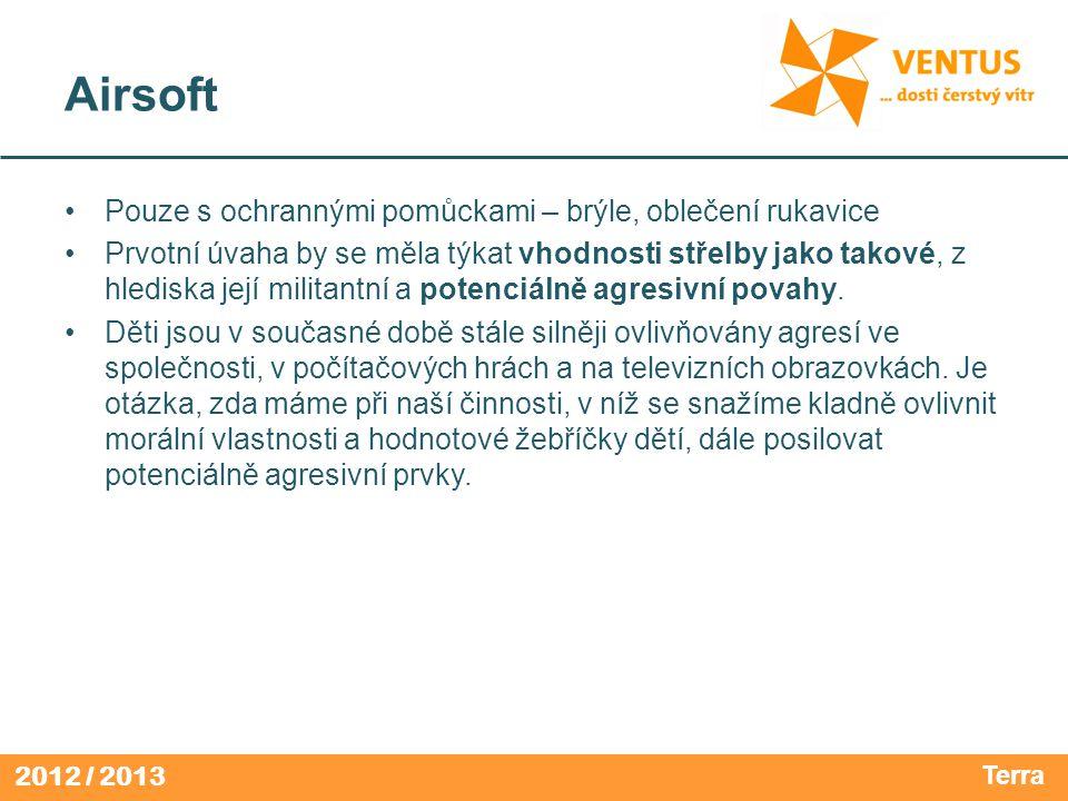 2012 / 2013 Airsoft Pouze s ochrannými pomůckami – brýle, oblečení rukavice Prvotní úvaha by se měla týkat vhodnosti střelby jako takové, z hlediska j