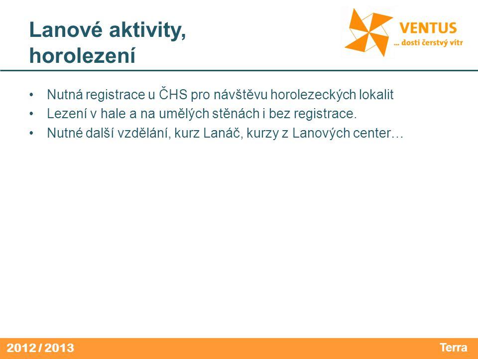 2012 / 2013 Lanové aktivity, horolezení Nutná registrace u ČHS pro návštěvu horolezeckých lokalit Lezení v hale a na umělých stěnách i bez registrace.