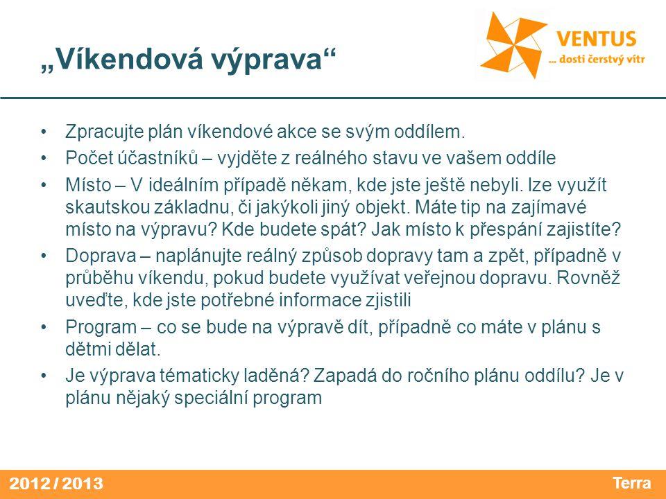 """2012 / 2013 """"Víkendová výprava Zpracujte plán víkendové akce se svým oddílem."""