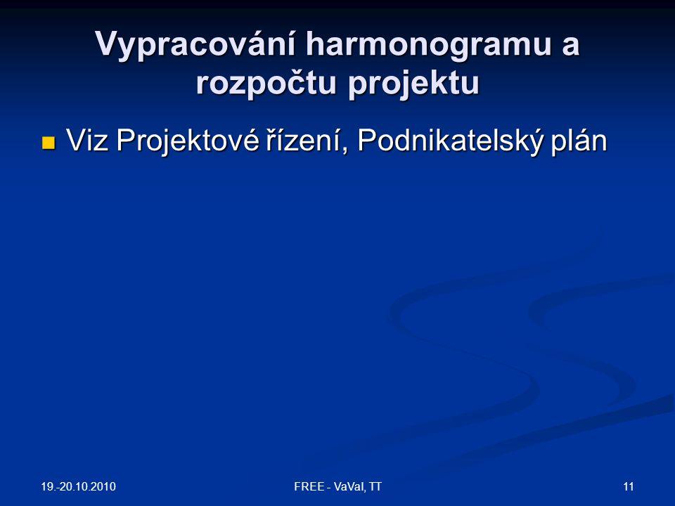 Vypracování harmonogramu a rozpočtu projektu Viz Projektové řízení, Podnikatelský plán Viz Projektové řízení, Podnikatelský plán 19.-20.10.2010 11FREE