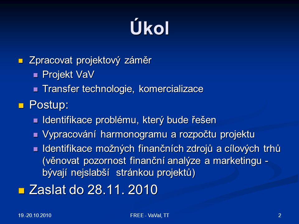 Úkol Zpracovat projektový záměr Zpracovat projektový záměr Projekt VaV Projekt VaV Transfer technologie, komercializace Transfer technologie, komercia