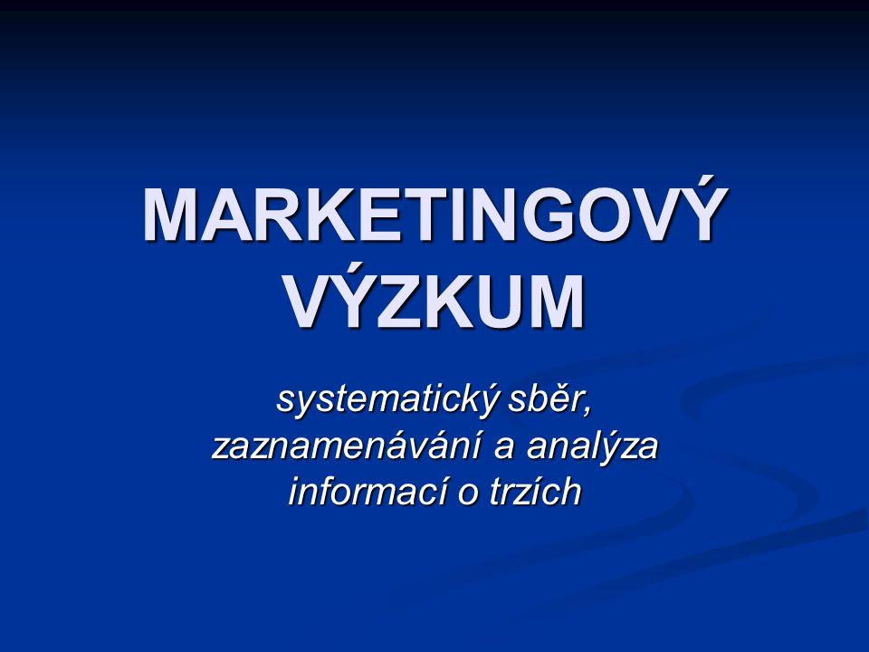MARKETINGOVÝ VÝZKUM systematický sběr, zaznamenávání a analýza informací o trzích