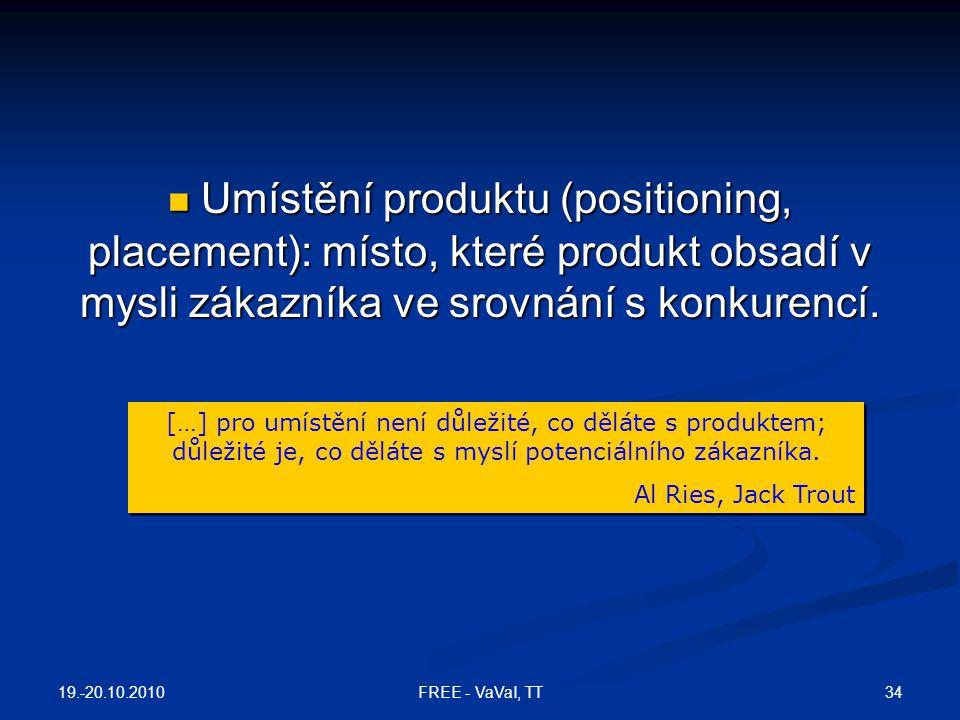Umístění produktu (positioning, placement): místo, které produkt obsadí v mysli zákazníka ve srovnání s konkurencí. Umístění produktu (positioning, pl