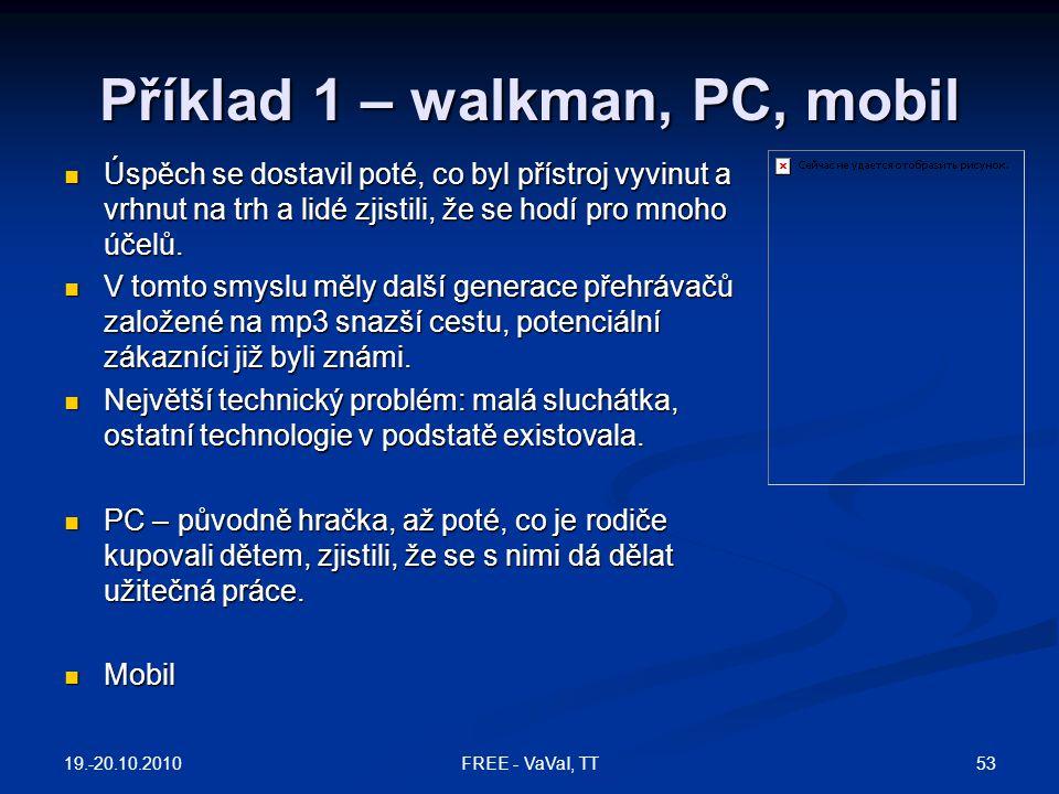 Příklad 1 – walkman, PC, mobil Úspěch se dostavil poté, co byl přístroj vyvinut a vrhnut na trh a lidé zjistili, že se hodí pro mnoho účelů. Úspěch se