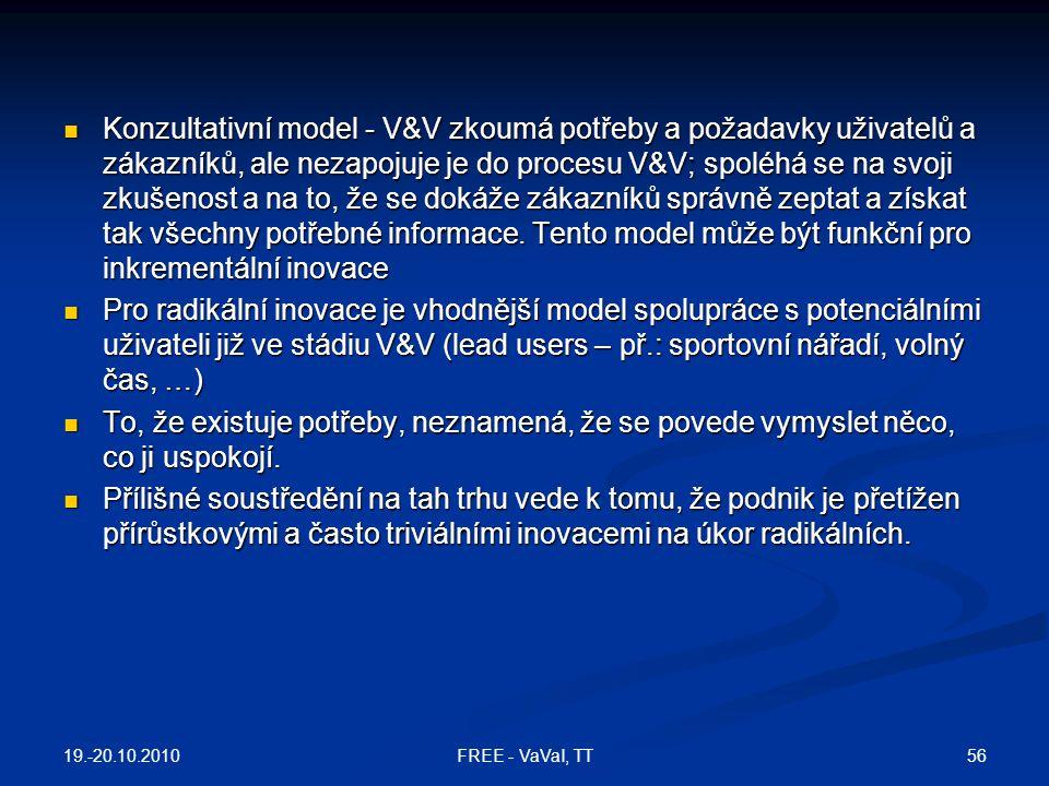 Konzultativní model - V&V zkoumá potřeby a požadavky uživatelů a zákazníků, ale nezapojuje je do procesu V&V; spoléhá se na svoji zkušenost a na to, ž