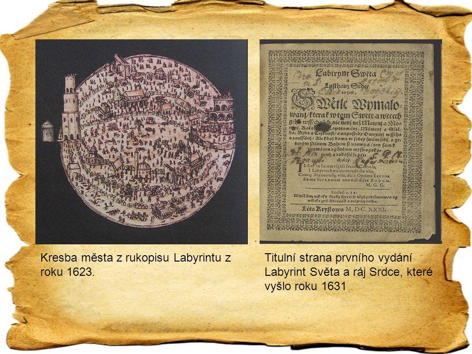 Kresba města z rukopisu Labyrintu z roku 1623. Titulní strana prvního vydání Labyrint Světa a ráj Srdce, které vyšlo roku 1631