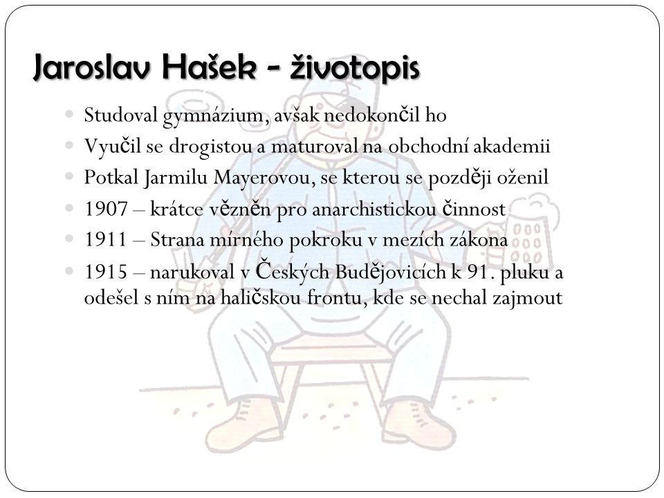 Jaroslav Hašek - životopis Studoval gymnázium, avšak nedokon č il ho Vyu č il se drogistou a maturoval na obchodní akademii Potkal Jarmilu Mayerovou,