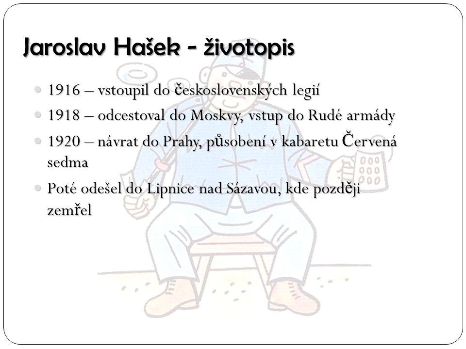Jaroslav Hašek - životopis 1916 – vstoupil do č eskoslovenských legií 1916 – vstoupil do č eskoslovenských legií 1918 – odcestoval do Moskvy, vstup do