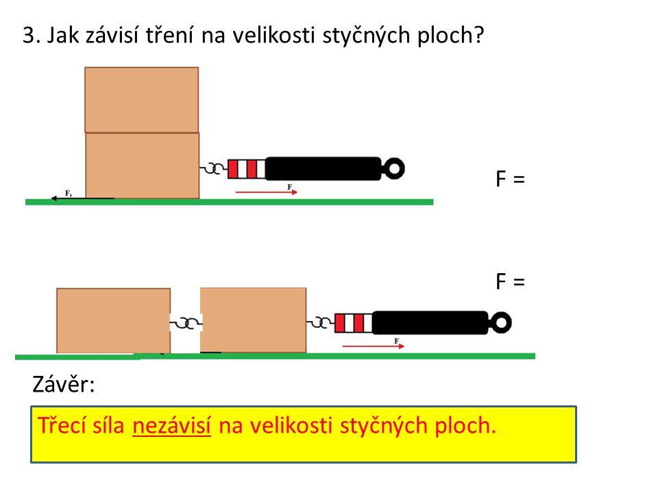 3.Jak závisí tření na velikosti styčných ploch.