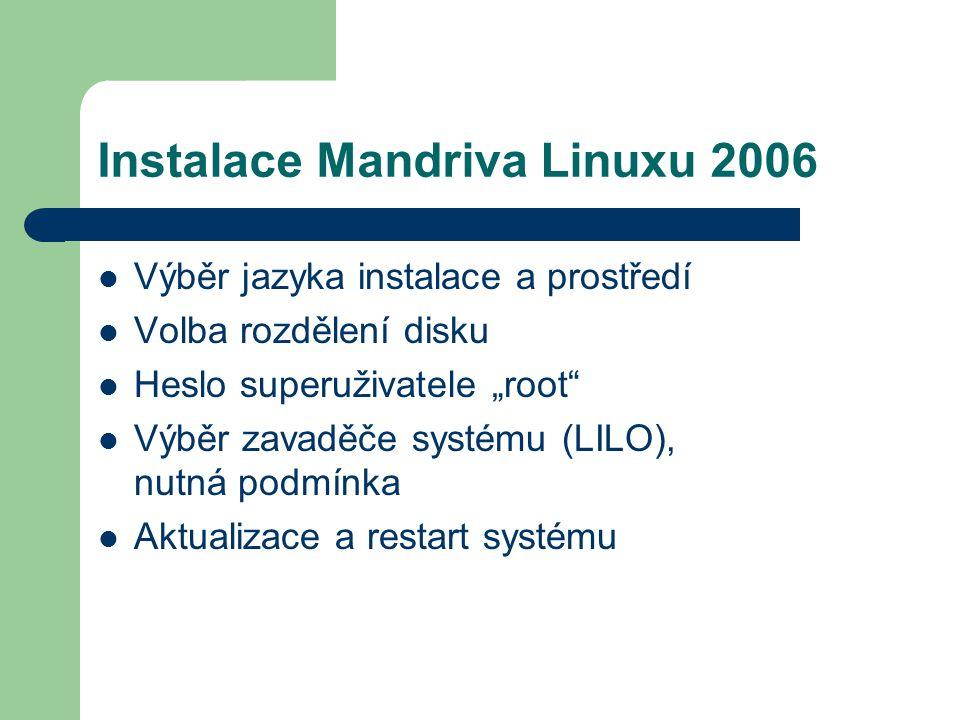 """Instalace Mandriva Linuxu 2006 Výběr jazyka instalace a prostředí Volba rozdělení disku Heslo superuživatele """"root"""" Výběr zavaděče systému (LILO), nut"""