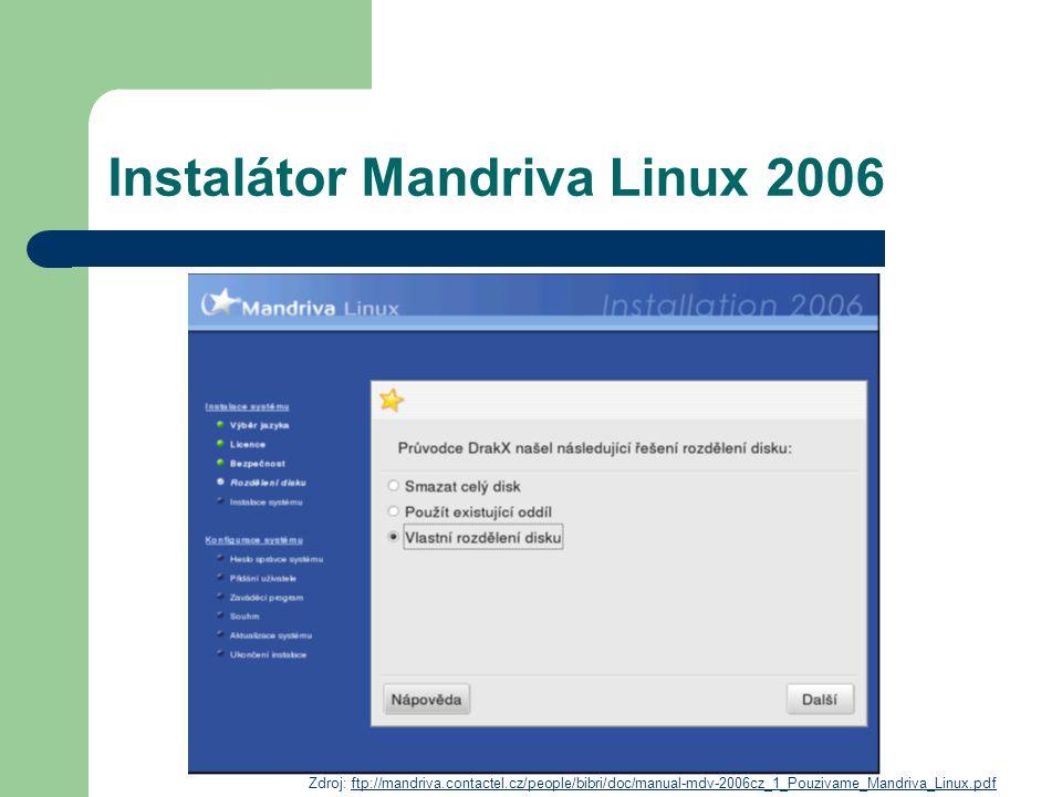 Instalátor Mandriva Linux 2006 Zdroj: ftp://mandriva.contactel.cz/people/bibri/doc/manual-mdv-2006cz_1_Pouzivame_Mandriva_Linux.pdfftp://mandriva.cont