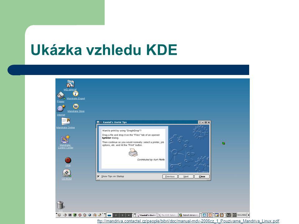 Ukázka vzhledu KDE ftp://mandriva.contactel.cz/people/bibri/doc/manual-mdv-2006cz_1_Pouzivame_Mandriva_Linux.pdf