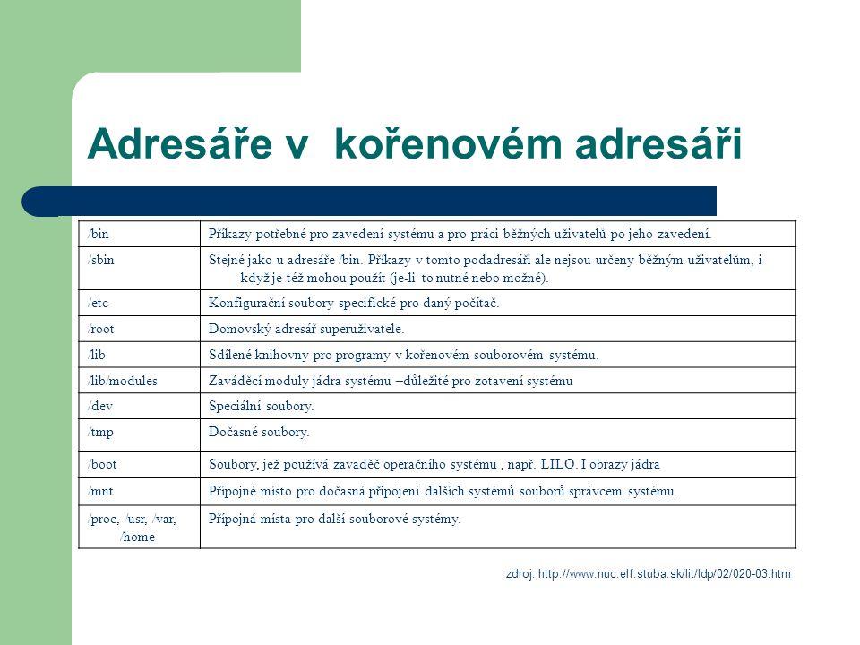 Adresáře v kořenovém adresáři /binPříkazy potřebné pro zavedení systému a pro práci běžných uživatelů po jeho zavedení. /sbinStejné jako u adresáře /b