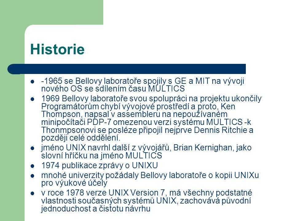 Historie -1965 se Bellovy laboratoře spojily s GE a MIT na vývoji nového OS se sdílením času MULTICS 1969 Bellovy laboratoře svou spolupráci na projek