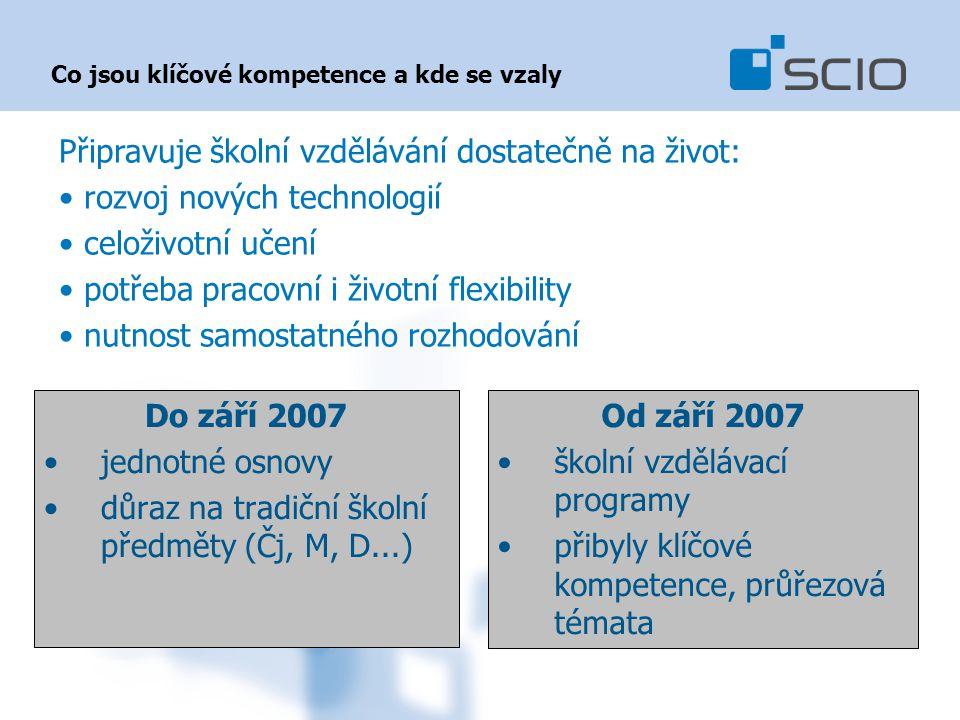 Co jsou klíčové kompetence a kde se vzaly Do září 2007 jednotné osnovy důraz na tradiční školní předměty (Čj, M, D...) Od září 2007 školní vzdělávací