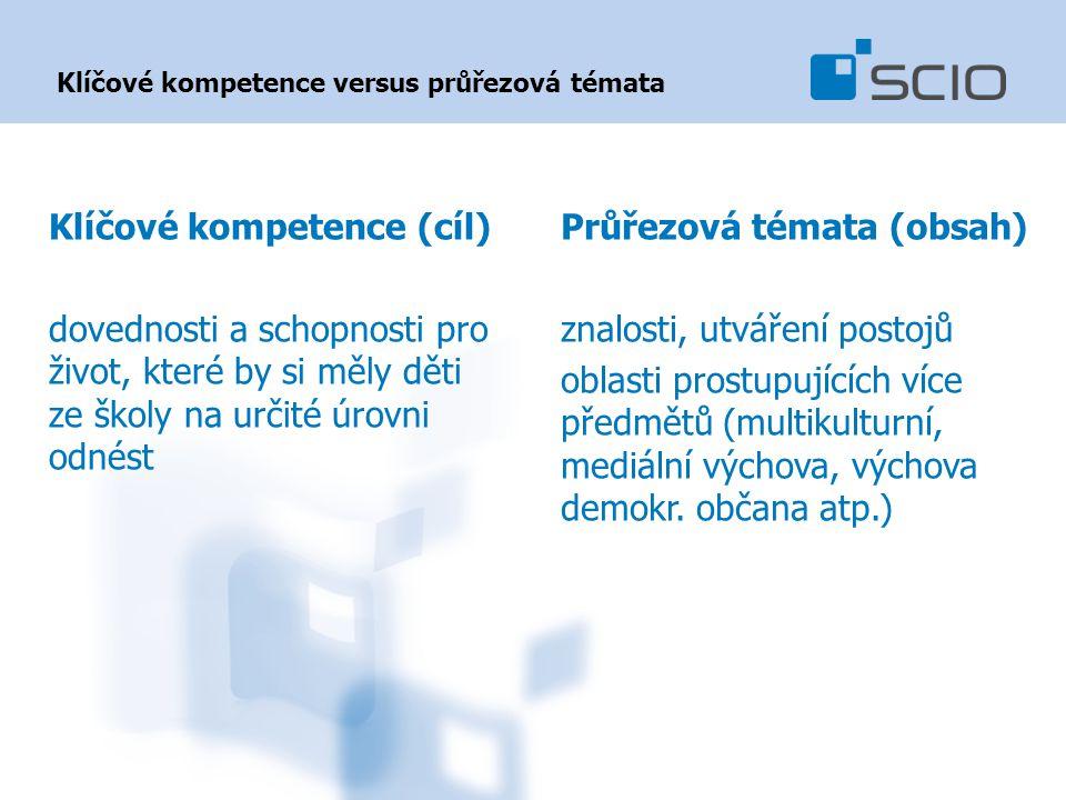 Klíčové kompetence versus průřezová témata Klíčové kompetence (cíl) dovednosti a schopnosti pro život, které by si měly děti ze školy na určité úrovni