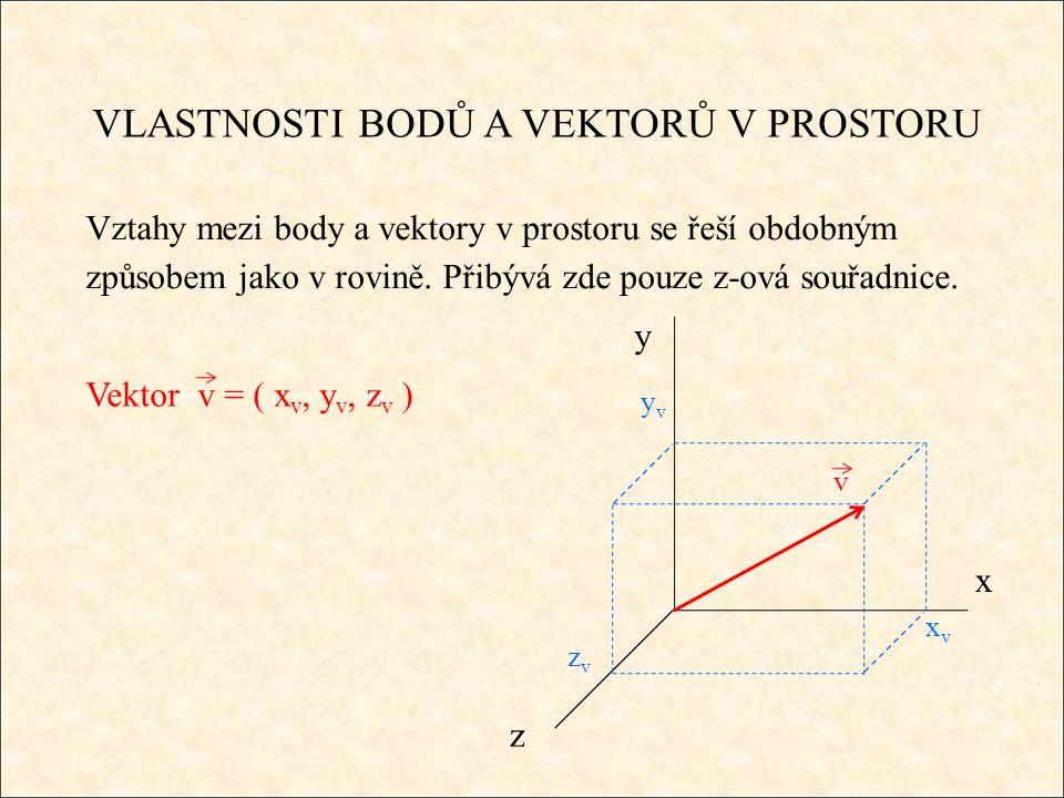 VLASTNOSTI BODŮ A VEKTORŮ V PROSTORU Je-li A = [x A, y A, z A ], B = [x B, y B, z B ] pak vzdálenost těchto bodů │AB│se určí : Střed úsečky AB, kde A = [x A, y A, z A ], B = [x B, y B, z B ] je bod S = [ x S, y S, z S ] є AB a platí │AS│= │BS│.