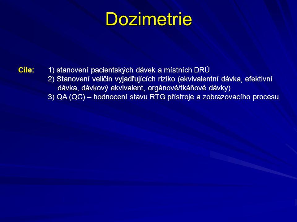Dozimetrie Cíle: 1) stanovení pacientských dávek a místních DRÚ 2) Stanovení veličin vyjadřujících riziko (ekvivalentní dávka, efektivní dávka, dávkov