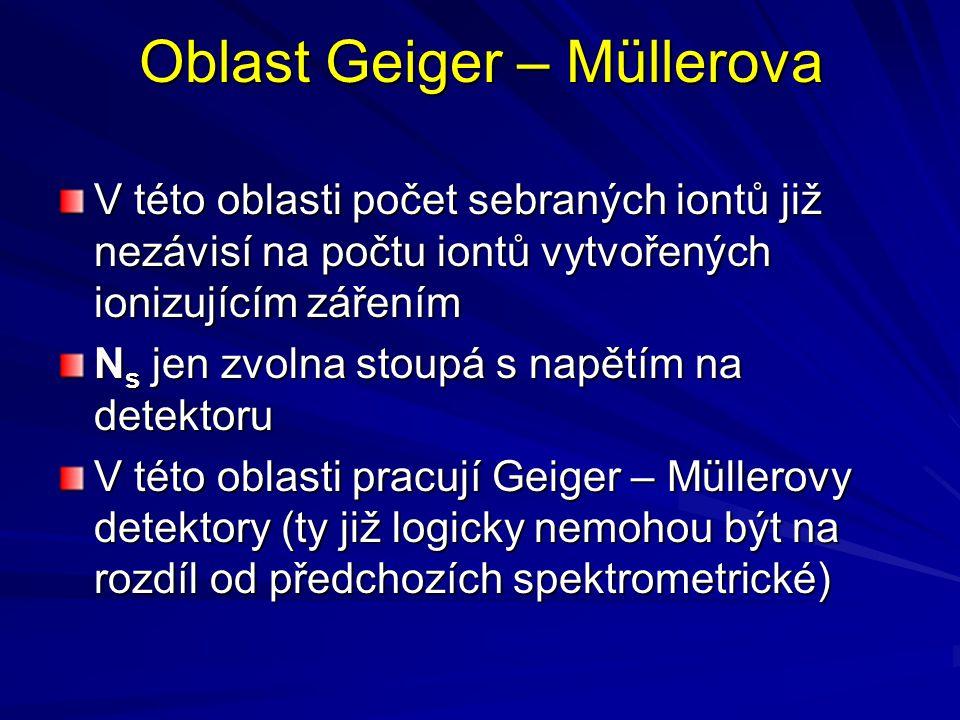 Oblast Geiger – Müllerova V této oblasti počet sebraných iontů již nezávisí na počtu iontů vytvořených ionizujícím zářením N s jen zvolna stoupá s nap