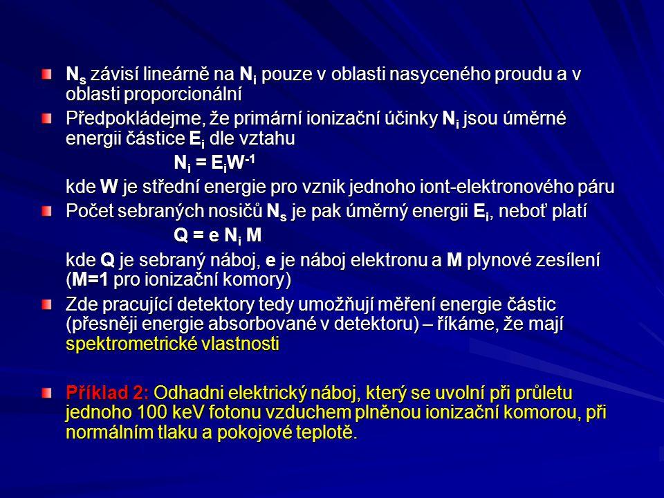 N s závisí lineárně na N i pouze v oblasti nasyceného proudu a v oblasti proporcionální Předpokládejme, že primární ionizační účinky N i jsou úměrné e