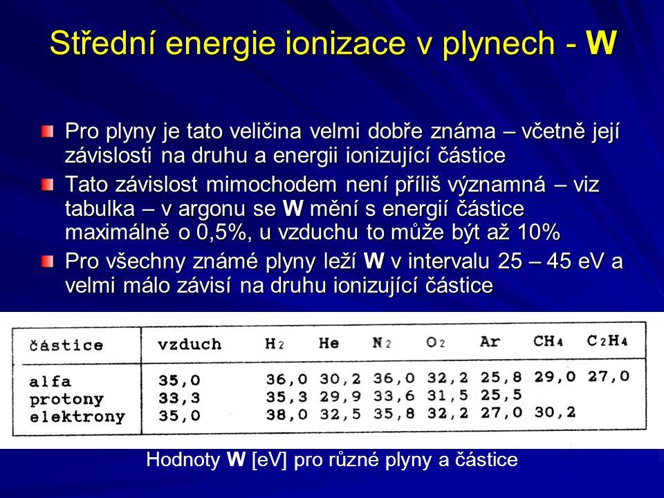 Střední energie ionizace v plynech - W Pro plyny je tato veličina velmi dobře známa – včetně její závislosti na druhu a energii ionizující částice Tat