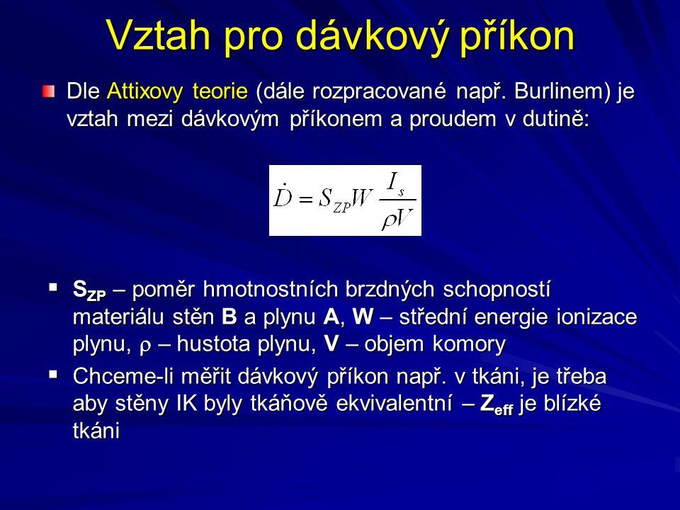 Vztah pro dávkový příkon Dle Attixovy teorie (dále rozpracované např. Burlinem) je vztah mezi dávkovým příkonem a proudem v dutině:  S ZP – poměr hmo