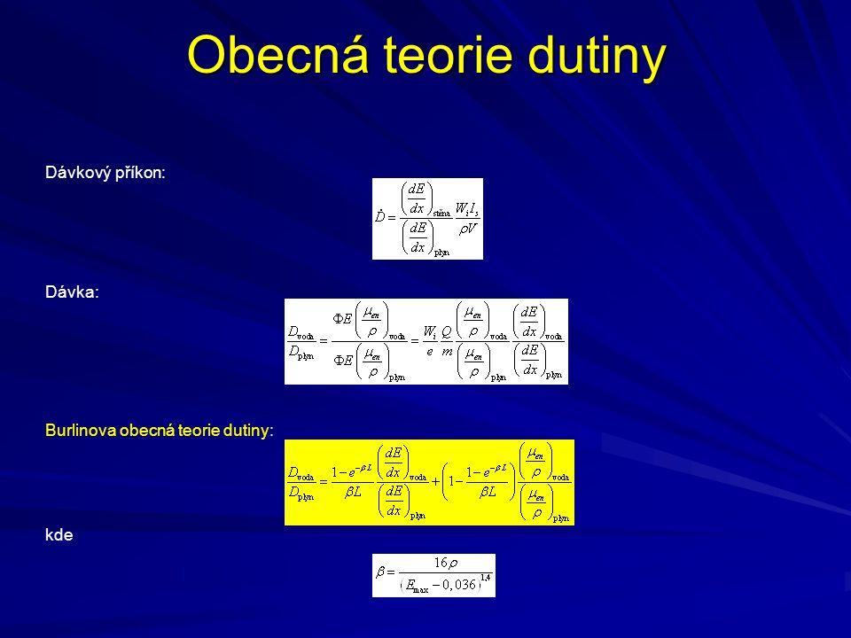 Obecná teorie dutiny Dávkový příkon: Dávka: Burlinova obecná teorie dutiny: kde