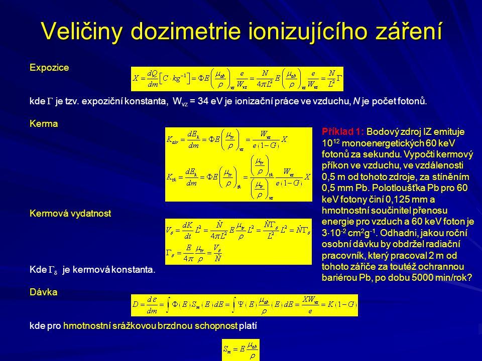 Hodnocení zátěže pacientů Skiagrafie – vstupní povrchová kerma Příklad: vyšetření břicho AP, 81 kV, 32 mAs vzdálenost ohnisko – receptor obrazu 115 cm, vzdálenost ohnisko podpěra (stůl) 107 cm ZDS Protokol bod 81 kV, 10 mAs, 1,25 mGy, ohnisko-detektor 80 cm, měřeno na fantomu 20 cm H 2 O, filtrace 3,4 mm Al Odhad vstupní povrchové kermy Předpoklad vzdálenost ohnisko – pacient 87cm (tloušťka 20 cm) K p = K e * (Q i /Q m ) * (r 2 m /r 2 i ) = 3.38 mGy (DRÚ – 10 mGy) kde K p …..