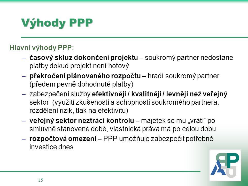"""15 Výhody PPP Hlavní výhody PPP: –časový skluz dokončení projektu – soukromý partner nedostane platby dokud projekt není hotový –překročení plánovaného rozpočtu – hradí soukromý partner (předem pevně dohodnuté platby) –zabezpečení služby efektivněji / kvalitněji / levněji než veřejný sektor (využití zkušeností a schopností soukromého partnera, rozdělení rizik, tlak na efektivitu) –veřejný sektor neztrácí kontrolu – majetek se mu """"vrátí po smluvně stanovené době, vlastnická práva má po celou dobu –rozpočtová omezení – PPP umožňuje zabezpečit potřebné investice dnes"""