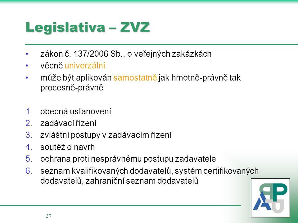 27 Legislativa – ZVZ zákon č.