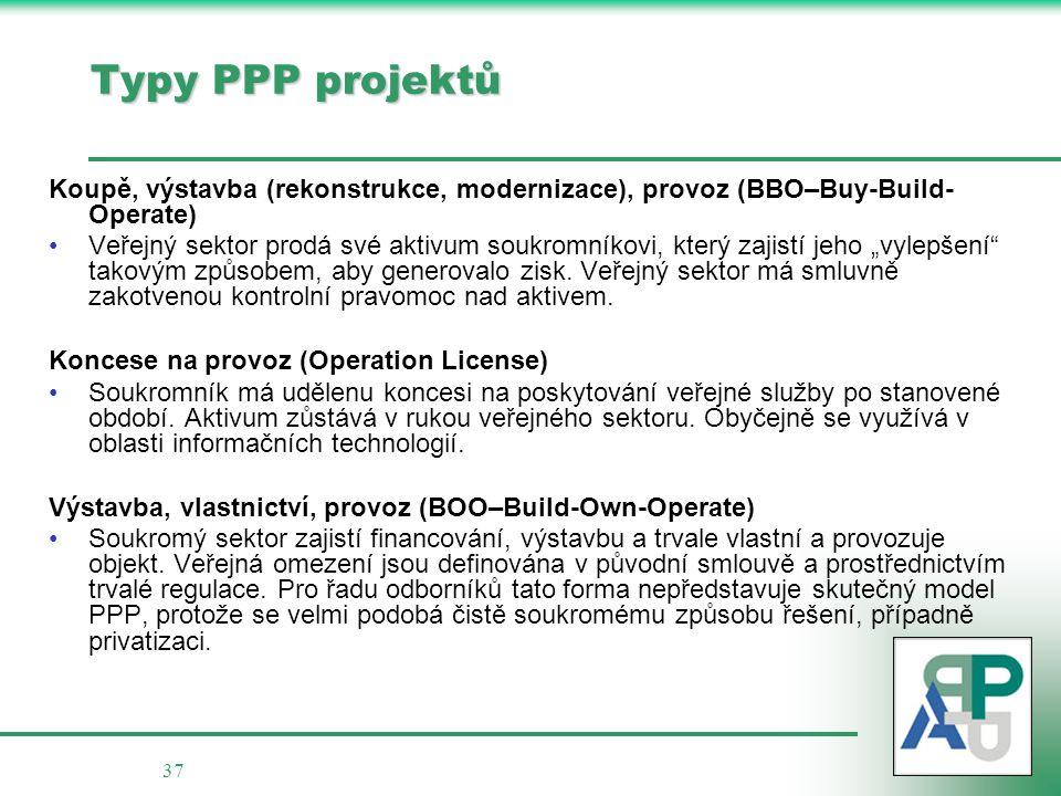 """37 Typy PPP projektů Koupě, výstavba (rekonstrukce, modernizace), provoz (BBO–Buy-Build- Operate) Veřejný sektor prodá své aktivum soukromníkovi, který zajistí jeho """"vylepšení takovým způsobem, aby generovalo zisk."""