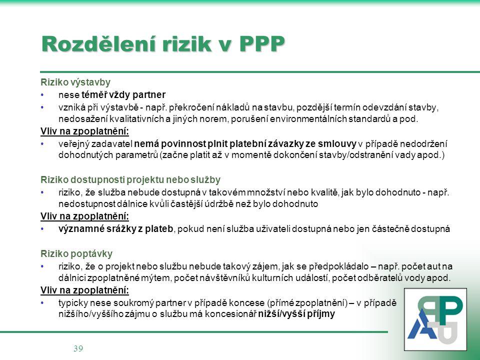39 Rozdělení rizik v PPP Riziko výstavby nese téměř vždy partner vzniká při výstavbě - např.