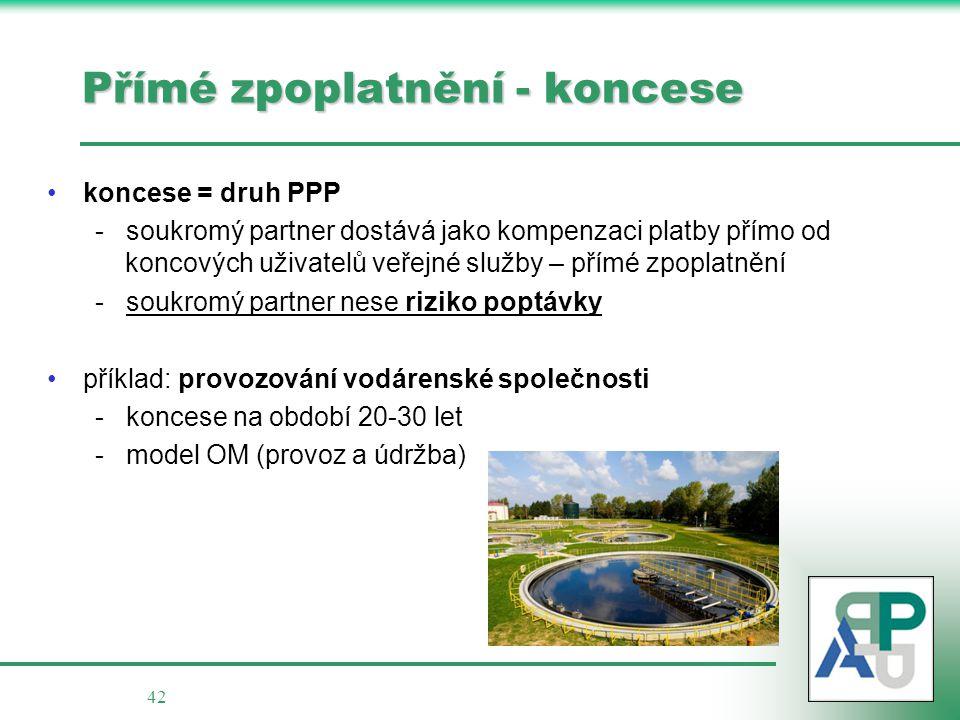 42 Přímé zpoplatnění - koncese koncese = druh PPP - soukromý partner dostává jako kompenzaci platby přímo od koncových uživatelů veřejné služby – přímé zpoplatnění - soukromý partner nese riziko poptávky příklad: provozování vodárenské společnosti - koncese na období 20-30 let - model OM (provoz a údržba)