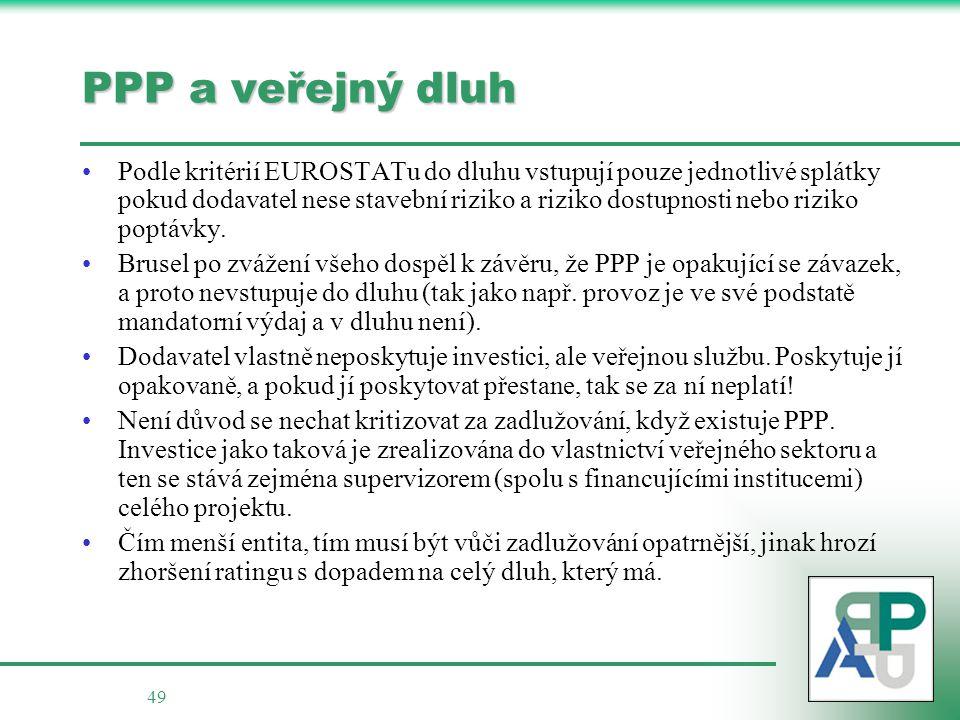 49 PPP a veřejný dluh Podle kritérií EUROSTATu do dluhu vstupují pouze jednotlivé splátky pokud dodavatel nese stavební riziko a riziko dostupnosti nebo riziko poptávky.