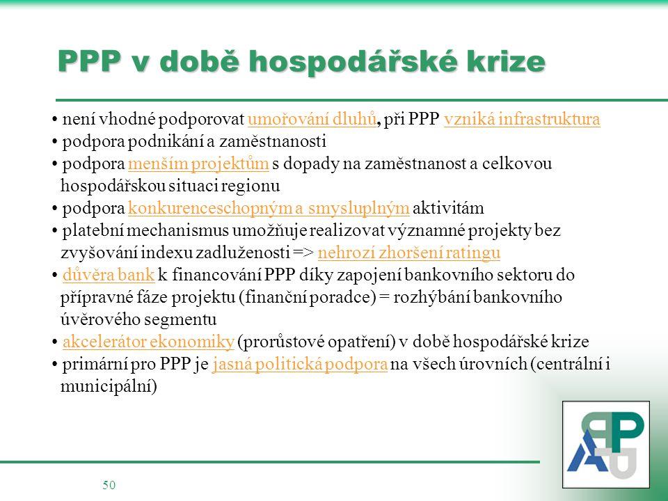 50 PPP v době hospodářské krize není vhodné podporovat umořování dluhů, při PPP vzniká infrastruktura podpora podnikání a zaměstnanosti podpora menším projektům s dopady na zaměstnanost a celkovou hospodářskou situaci regionu podpora konkurenceschopným a smysluplným aktivitám platební mechanismus umožňuje realizovat významné projekty bez zvyšování indexu zadluženosti => nehrozí zhoršení ratingu důvěra bank k financování PPP díky zapojení bankovního sektoru do přípravné fáze projektu (finanční poradce) = rozhýbání bankovního úvěrového segmentu akcelerátor ekonomiky (prorůstové opatření) v době hospodářské krize primární pro PPP je jasná politická podpora na všech úrovních (centrální i municipální)