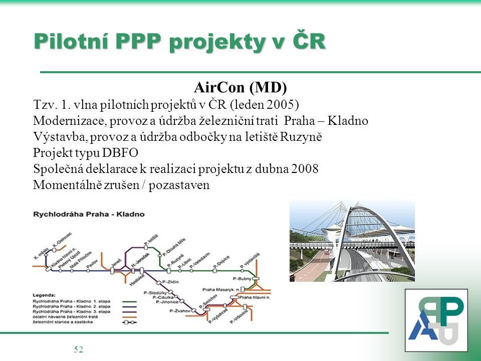 52 Pilotní PPP projekty v ČR AirCon (MD) Tzv.1.