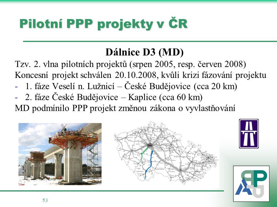 53 Pilotní PPP projekty v ČR Dálnice D3 (MD) Tzv.2.