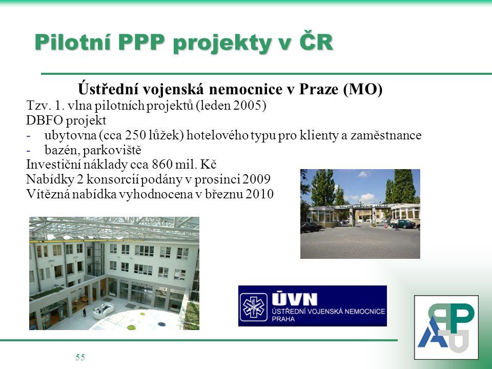55 Pilotní PPP projekty v ČR Ústřední vojenská nemocnice v Praze (MO) Tzv.