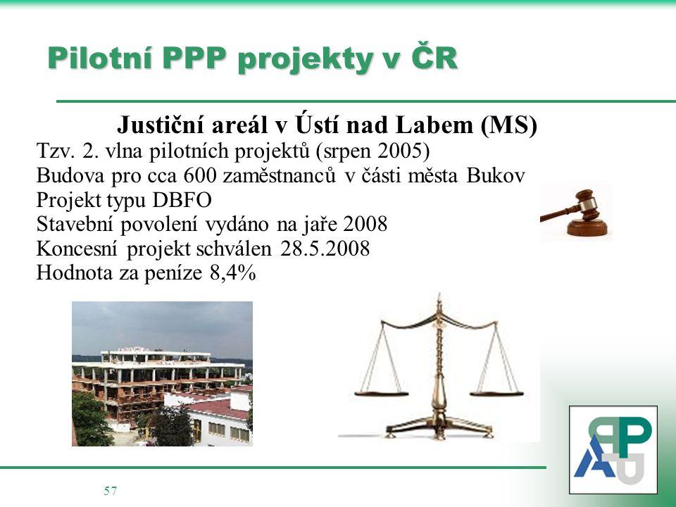 57 Pilotní PPP projekty v ČR Justiční areál v Ústí nad Labem (MS) Tzv.