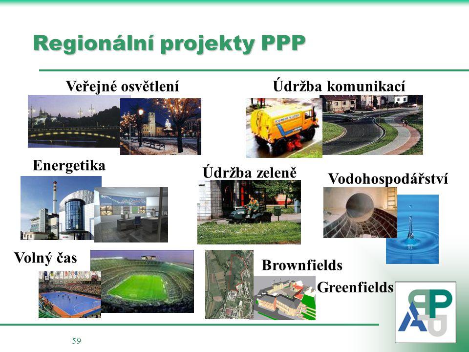 59 Regionální projekty PPP Veřejné osvětlení Údržba komunikací Údržba zeleně Vodohospodářství Energetika Brownfields Greenfields Volný čas