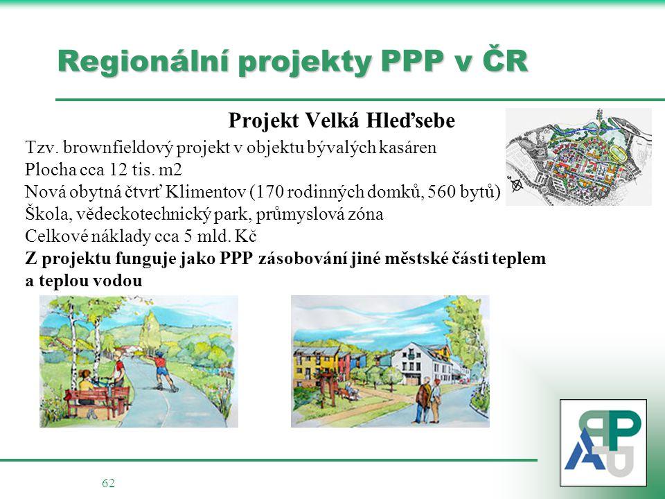 62 Regionální projekty PPP v ČR Projekt Velká Hleďsebe Tzv.