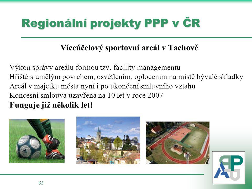 63 Regionální projekty PPP v ČR Víceúčelový sportovní areál v Tachově Výkon správy areálu formou tzv.