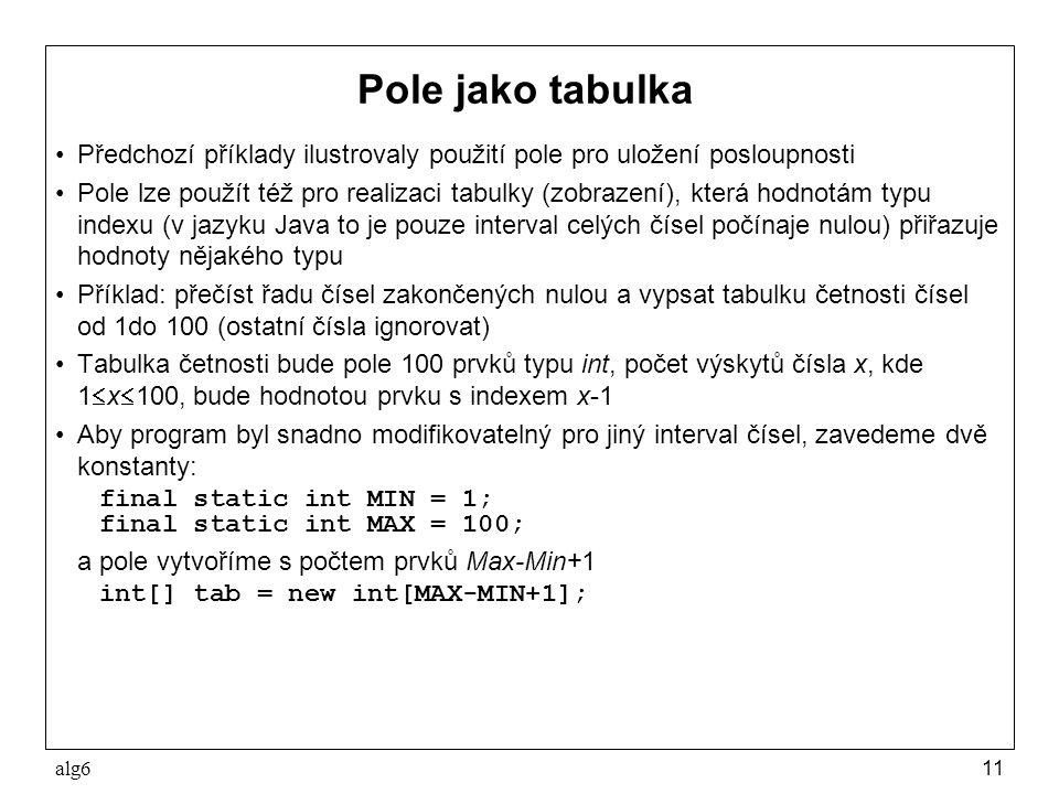alg611 Pole jako tabulka Předchozí příklady ilustrovaly použití pole pro uložení posloupnosti Pole lze použít též pro realizaci tabulky (zobrazení), k