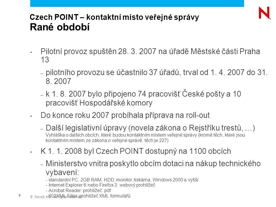 © Novell, Inc. All rights reserved. 10 Czech POINT – kontaktní místo veřejné správy Rutinní provoz