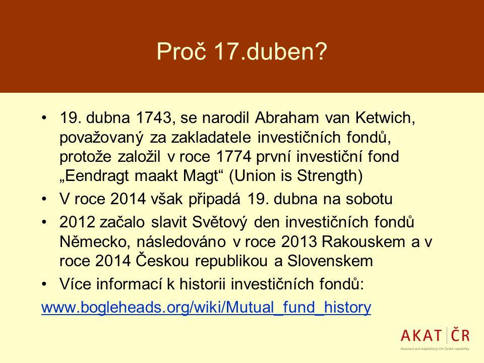 Proč 17.duben? 19. dubna 1743, se narodil Abraham van Ketwich, považovaný za zakladatele investičních fondů, protože založil v roce 1774 první investi