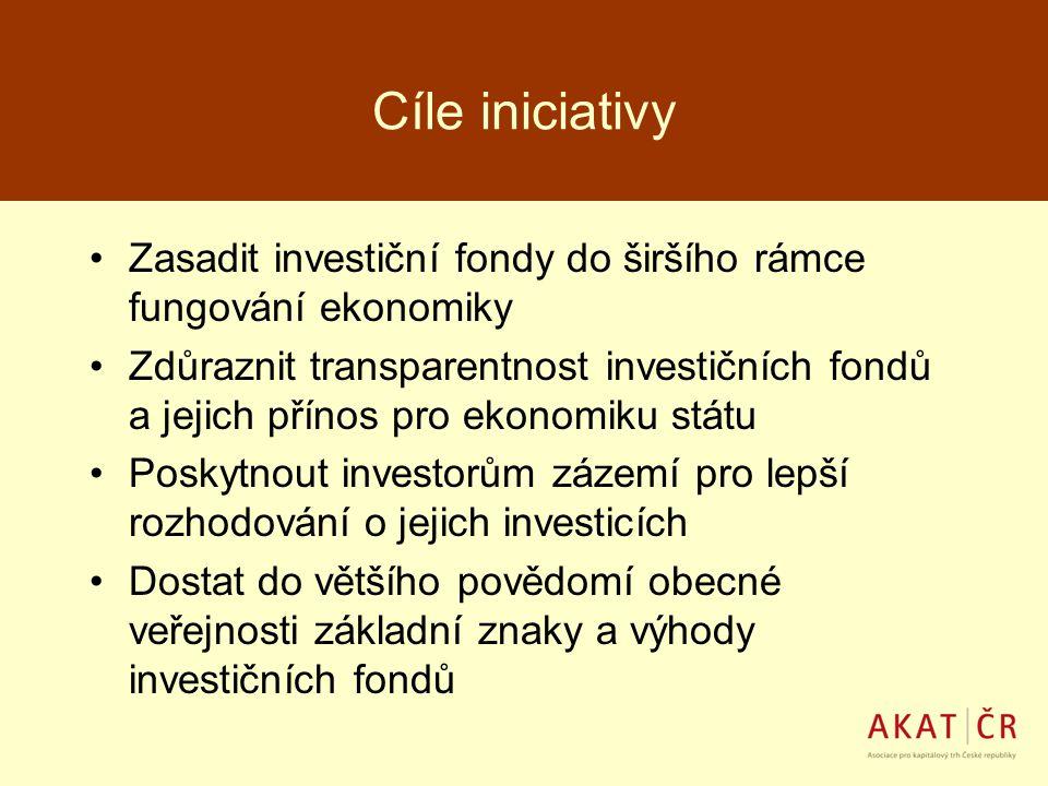 Cíle iniciativy Zasadit investiční fondy do širšího rámce fungování ekonomiky Zdůraznit transparentnost investičních fondů a jejich přínos pro ekonomi