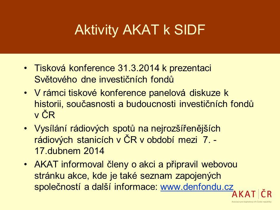 Aktivity AKAT k SIDF Tisková konference 31.3.2014 k prezentaci Světového dne investičních fondů V rámci tiskové konference panelová diskuze k historii